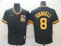 Mens Majestic Pittsburgh Pirates #8 Willie Stargell Black Pullove Throwback Cool Base Jersey