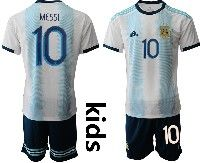 Youth Soccer 19-20 Argentina National Team #10 Lionel Messi White And Sky Blue Stripe Home Short Sleeve Suit Jersey