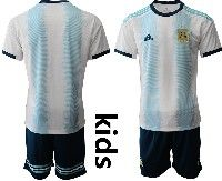 Youth Soccer 19-20 Argentina National Team Custom Made White And Sky Blue Stripe Home Short Sleeve Suit Jersey