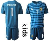 Youth Soccer 19-20 Argentina National Team #1 Willy Caballero Blue Goalkeeper Short Sleeve Suit Jersey