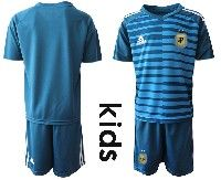 Youth Soccer 19-20 Argentina National Team Custom Made Blue Goalkeeper Short Sleeve Suit Jersey