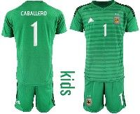Youth Soccer 19-20 Argentina National Team #1 Willy Caballero Green Goalkeeper Short Sleeve Suit Jersey