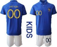 Youth 19-20 Soccer France National Team Custom Made Blue Home Short Sleeve Suit Jersey