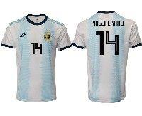 Mens 19-20 Soccer Argentina National Team #14 Javier Mascherano Adidas White Home Jersey