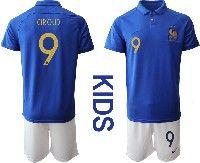 Youth 19-20 Soccer France National Team #9 Olivier Giroud Blue Home Short Sleeve Suit Jersey
