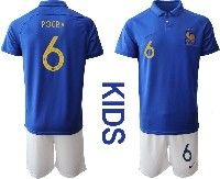 Youth 19-20 Soccer France National Team #6 Paul Pogba Blue Home Short Sleeve Suit Jersey