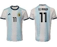 Mens 19-20 Soccer Argentina National Team #11 Angel Di Maria Adidas White Home Short Sleeve Jersey