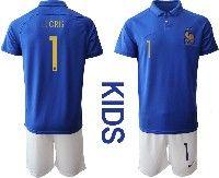 Youth 19-20 Soccer France National Team #1 Hugo Lloris  Blue Home Short Sleeve Suit Jersey