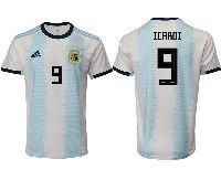 Mens 19-20 Soccer Argentina National Team #9 Mauro Icardi Adidas White Home Short Sleeve Jersey