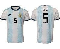 Mens 19-20 Soccer Argentina National Team #5 Fernando Gago Adidas White Home Short Sleeve Jersey