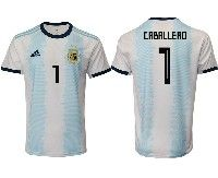 Mens 19-20 Soccer Argentina National Team #1 Willy Caballero Adidas White Home Short Sleeve Jersey