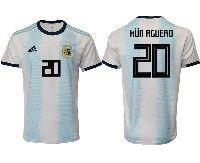 Mens 19-20 Soccer Argentina National Team #20 Kun Aguero Adidas White Home Short Sleeve Jersey