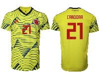 Mens 19-20 Soccer Colombia National Team #21 Edwin Cardona Adidas Yellow Home Short Sleeve Jersey