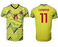 Mens 19-20 Soccer Colombia National Team #11 Juan Cuadrado Adidas Yellow Home Short Sleeve Jersey