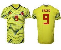 Mens 19-20 Soccer Colombia National Team #9 Radamel Falcao Adidas Yellow Home Short Sleeve Jersey