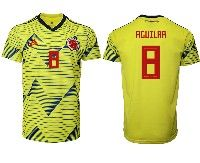 Mens 19-20 Soccer Colombia National Team #8 Abel Aguilar Adidas Yellow Home Short Sleeve Jersey