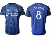 Mens 19-20 Soccer Galaxy Club #8 Jonathan Dos Santos Blue Away Short Sleeve Thailand Jersey