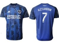 Mens 19-20 Soccer Galaxy Club #7 Romain Alessandrini Blue Away Short Sleeve Thailand Jersey