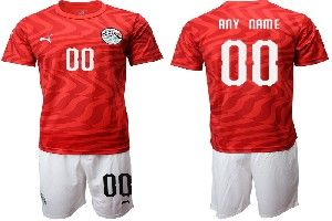 Mens 19-20 Soccer Egypt National Team ( Custom Made ) Red Home Short Sleeve Suit Jersey