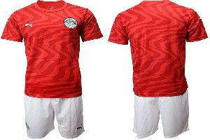 Mens 19-20 Soccer Egypt National Team Blank Red Home Short Sleeve Suit Jersey