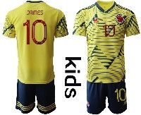 Youth Soccer 19-20 Colombia National Team #10 James Rodriguez Yellow Home Short Sleeve Suit Jersey