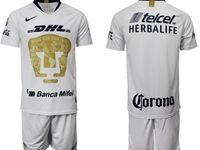 Mens 19-20 Soccer Pumas Club ( Custom Made ) White Home Short Sleeve Suit Jersey