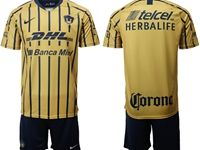 Mens 19-20 Soccer Pumas Club ( Custom Made ) Gold Away Short Sleeve Suit Jersey