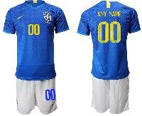 Mens 19-20 Soccer Brazil National Team ( Custom Made ) Blue Away Nike Short Sleeve Suit Jersey