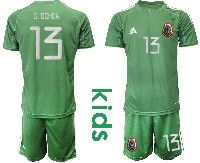 Youth Soccer 19-20 Mexico National Team #13 G.ochoa Green Goalkeeper Short Sleeve Suit Jersey