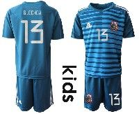 Youth Soccer 19-20 Mexico National Team #13 G.ochoa Blue Goalkeeper Short Sleeve Suit Jersey