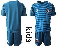 Youth Soccer 19-20 Mexico National Team Custom Made Blue Goalkeeper Short Sleeve Suit Jersey