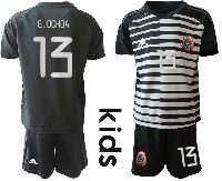 Youth Soccer 19-20 Mexico National Team #13 G.ochoa Black White Stripe Goalkeeper Short Sleeve Suit Jersey