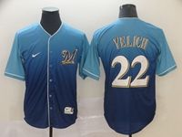 Mens Mlb Milwaukee Brewers #22 Christian Yelich Blue Nike Drift Cool Base Jersey