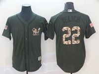 Mens Mlb Milwaukee Brewers #22 Christian Yelich Green (camo Number) Cool Base Jersey