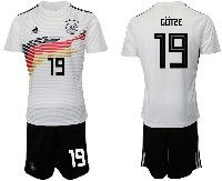 Mens 19-20 Soccer Germany Ntaional Team #19 Mario Gotze White Home Adidas Short Sleeve Suit Jersey