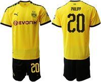 Mens 19-20 Soccer Borussia Dortmund Club #20 Maximilian Philipp Yellow Home Short Sleeve Suit Jersey