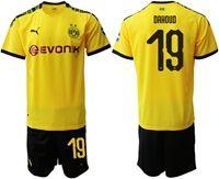 Mens 19-20 Soccer Borussia Dortmund Club #19 Mahmoud Dahoud Yellow Home Short Sleeve Suit Jersey