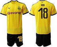 Mens 19-20 Soccer Borussia Dortmund Club #18 Sebastian Rode Yellow Home Short Sleeve Suit Jersey