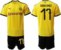 Mens 19-20 Soccer Borussia Dortmund Club #17 Sergio Gomez Yellow Home Short Sleeve Suit Jersey