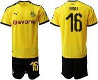 Mens 19-20 Soccer Borussia Dortmund Club #16 Manuel Akanji Yellow Home Short Sleeve Suit Jersey
