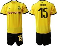 Mens 19-20 Soccer Borussia Dortmund Club #15 Jeremy Toljan Yellow Home Short Sleeve Suit Jersey