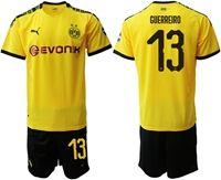 Mens 19-20 Soccer Borussia Dortmund Club #13 Raphael Guerreiro Yellow Home Short Sleeve Suit Jersey