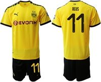Mens 19-20 Soccer Borussia Dortmund Club #11 Marco Reus Yellow Home Short Sleeve Suit Jersey