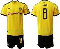 Mens 19-20 Soccer Borussia Dortmund Club #8 Nuri Sahin Yellow Home Short Sleeve Suit Jersey