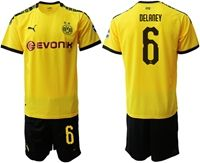 Mens 19-20 Soccer Borussia Dortmund Club #6 Thomas Delaney Yellow Home Short Sleeve Suit Jersey