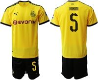 Mens 19-20 Soccer Borussia Dortmund Club #5 Achraf Hakimi Yellow Home Short Sleeve Suit Jersey