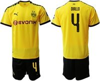 Mens 19-20 Soccer Borussia Dortmund Club #4 Abdou Diallo Yellow Home Short Sleeve Suit Jersey