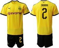 Mens 19-20 Soccer Borussia Dortmund Club #2 Dan-axel Zagadou Yellow Home Short Sleeve Suit Jersey