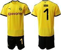 Mens 19-20 Soccer Borussia Dortmund Club #1 Roman Burki Yellow Home Short Sleeve Suit Jersey