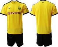 Mens 19-20 Soccer Borussia Dortmund Club (custom Made) Yellow Home Short Sleeve Suit Jersey